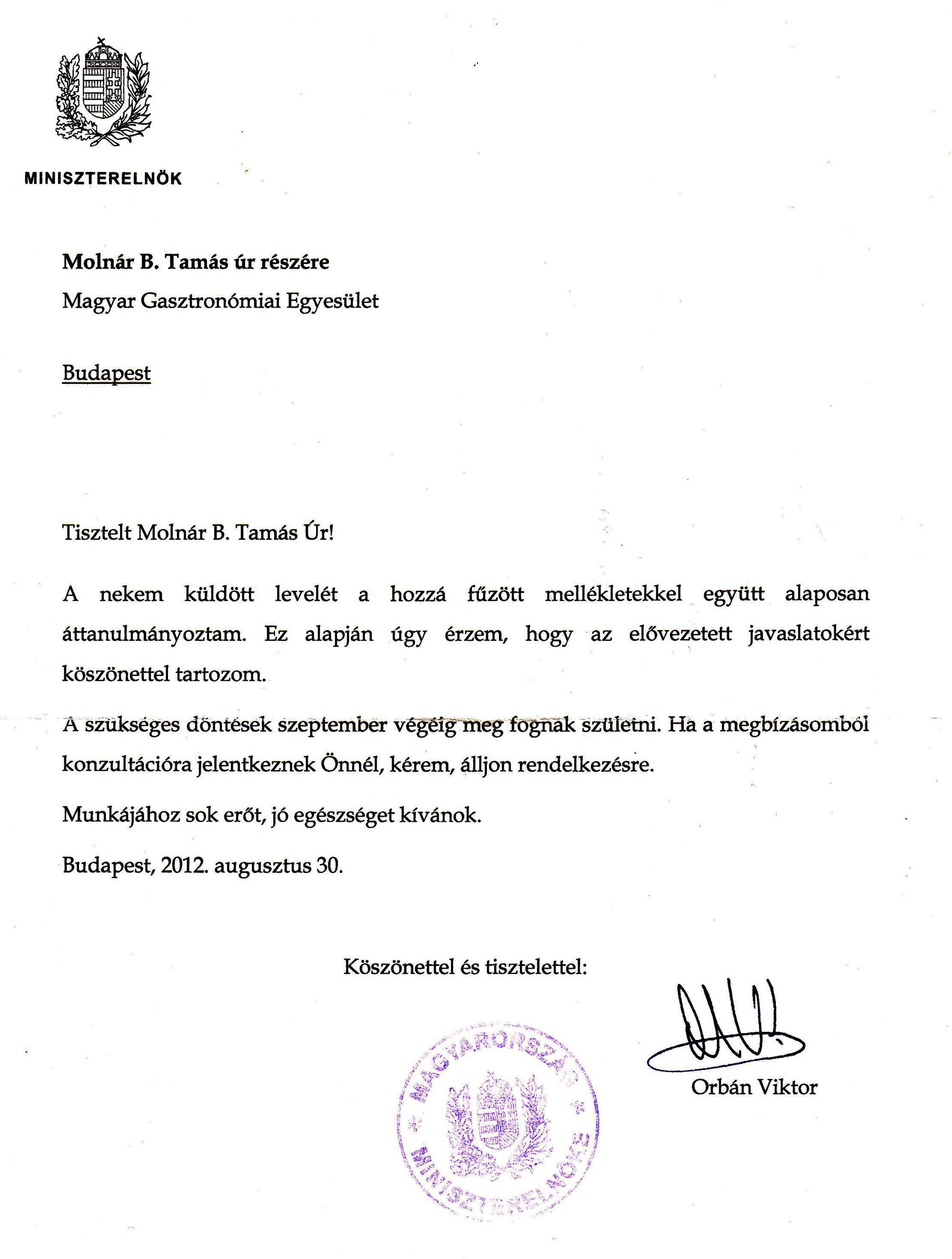 Miniszterelnöki válasz az MGE beadványára