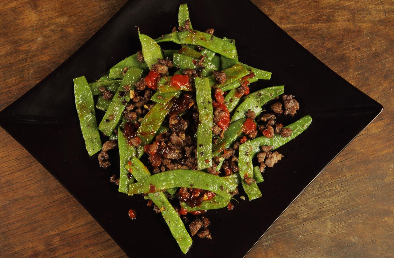 Zöldbab szecsuáni húsraguval