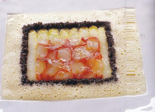 Carpaccio carabineros rákból, kaviárral, spárgával, citrusos-tandooris rákmártással